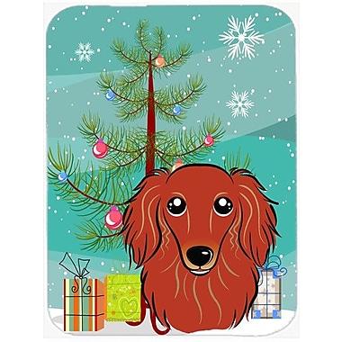 Caroline's Treasures Under the Christmas Tree and Longhair Dachshund Glass Cutting Board; Red