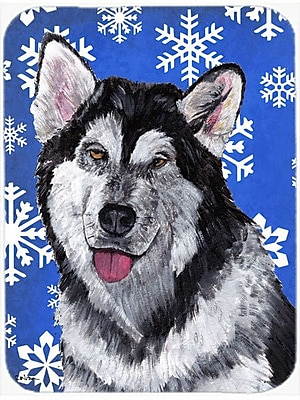 Caroline's Treasures Snowflakes Alaskan Malamute Glass Cutting Board; Blue/White
