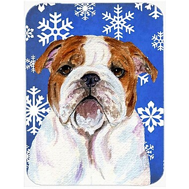 Caroline's Treasures Snowflakes English Bulldog Glass Cutting Board; Blue/White