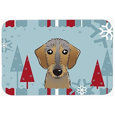 Caroline's Treasures Winter Holiday Wirehaired Dachshund Glass Cutting Board