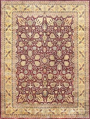 Pasargad Tabriz Hand-Knotted Burgundy Area Rug