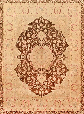 Pasargad Tabriz Hand-Knotted Brown Area Rug