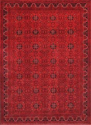 Pasargad Yamoud Hand-Knotted Burgundy Area Rug