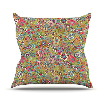 KESS InHouse My Butterflies and Flowers Outdoor Throw Pillow; Green