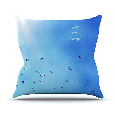KESS InHouse Live Love Laugh Outdoor Throw Pillow