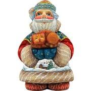 G Debrekht Hand-Crafted Purrfect Pair Santa Statue