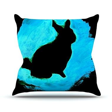 KESS InHouse Moon Bunny Outdoor Throw Pillow