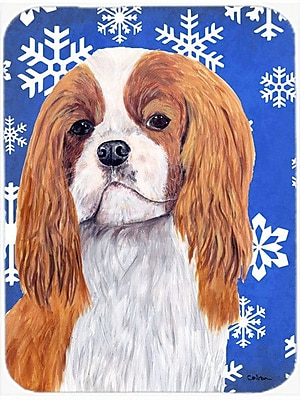 Caroline's Treasures Snowflakes Cavalier Spaniel Glass Cutting Board; Blue/White