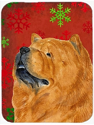 Caroline's Treasures Snowflakes Chow Chow Glass Cutting Board; Red/Green