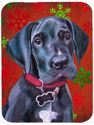Caroline's Treasures Snowflakes Great Dane Puppy Glass Cutting Board; Red/Green