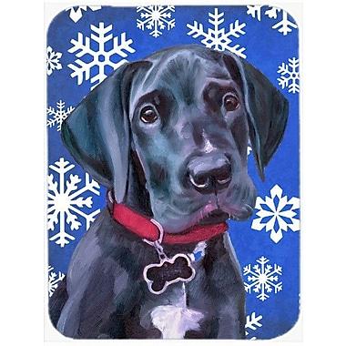 Caroline's Treasures Snowflakes Great Dane Puppy Glass Cutting Board; Blue/White