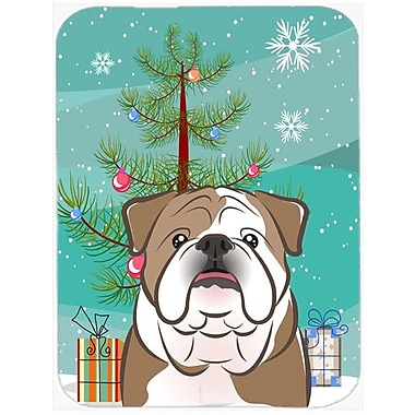 Caroline's Treasures Under the Christmas Tree and English Bulldog Glass Cutting Board; Brown/White