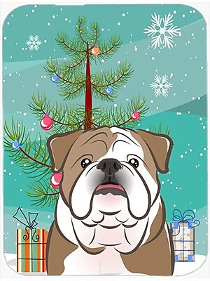 Caroline's Treasures Under the Christmas Tree and English Bulldog Glass Cutting Board; Brown/White
