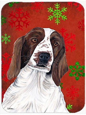Caroline's Treasures Snowflakes Welsh Springer Spaniel Glass Cutting Board; Red/Green