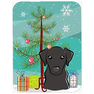 Caroline's Treasures Under the Christmas Tree and Labrador Glass Cutting Board; Black