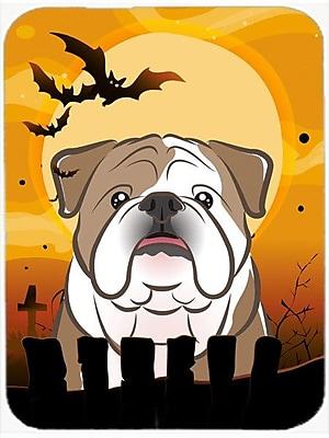 Caroline's Treasures Halloween English Bulldog Glass Cutting Board; Brown/White