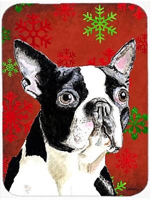 Caroline's Treasures Snowflakes Boston Terrier Glass Cutting Board; Red/Green