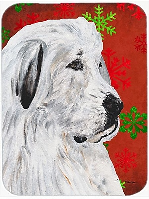 Caroline's Treasures Snowflakes Great Pyrenees Glass Cutting Board; Red/Green