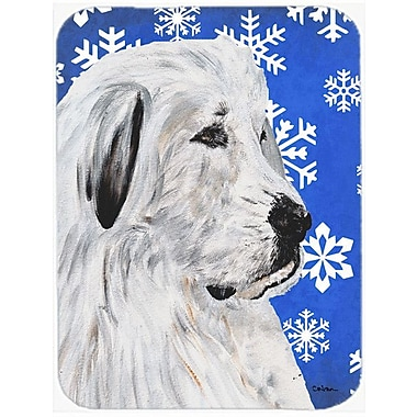 Caroline's Treasures Snowflakes Great Pyrenees Glass Cutting Board; Blue/White