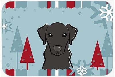 Caroline's Treasures Winter Holiday Labrador Glass Cutting Board; Black