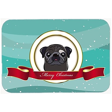 Caroline's Treasures Pug Merry Christmas Glass Cutting Board; Black