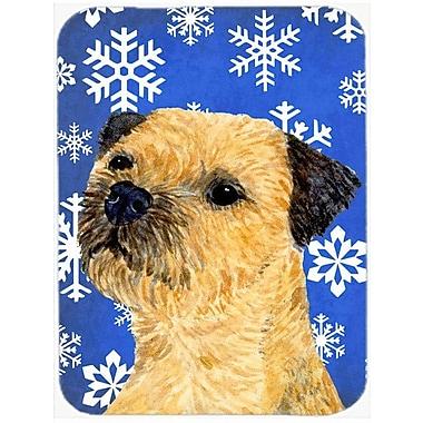 Caroline's Treasures Snowflakes Border Terrier Glass Cutting Board; Blue/White