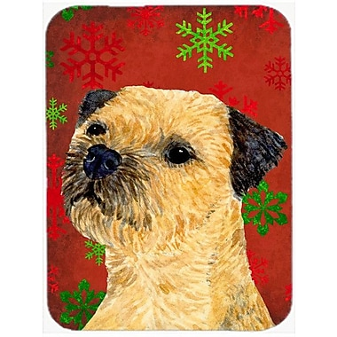 Caroline's Treasures Snowflakes Border Terrier Glass Cutting Board; Red/Green