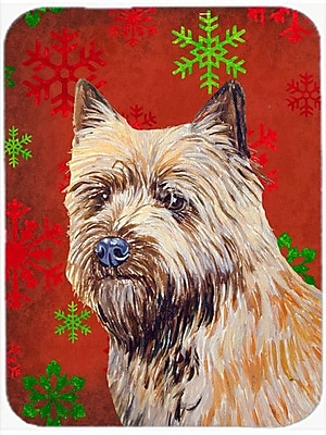 Caroline's Treasures Snowflakes Cairn Terrier Glass Cutting Board; Red/Green