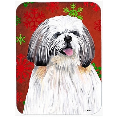 Caroline's Treasures Snowflakes Shih Tzu Glass Cutting Board; Red/Green