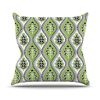 KESS InHouse Oak Leaf Outdoor Throw Pillow; Lime