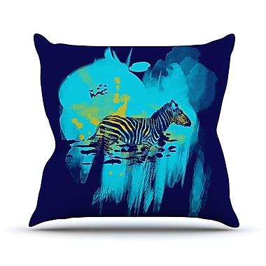 KESS InHouse Watercolored Outdoor Throw Pillow; Blue