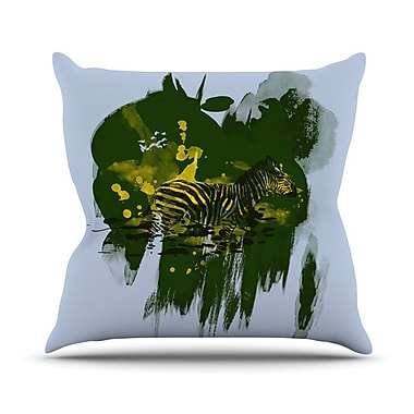 KESS InHouse Watercolored Outdoor Throw Pillow; Green