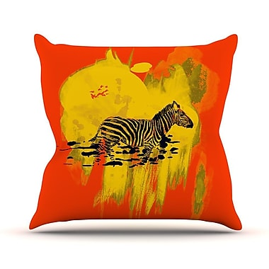 KESS InHouse Watercolored Outdoor Throw Pillow; Red