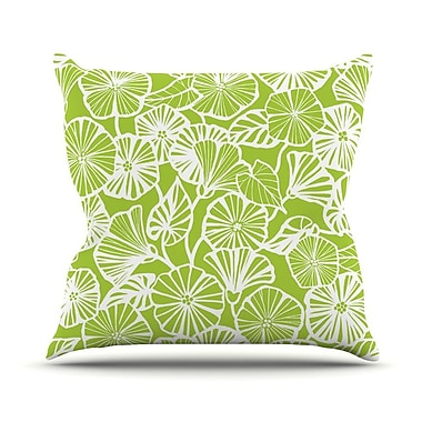 KESS InHouse Vine Shadow Outdoor Throw Pillow; Lime