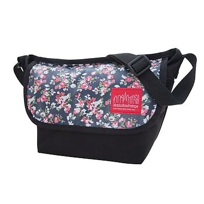 Manhattan Portage Floral Print Nylon Messenger Bag (1603-FLORAL BLK)
