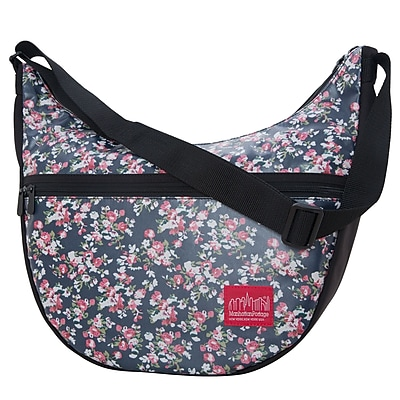 Manhattan Portage Floral Print Top Zipper Nolita Bag Black (6056-FLORAL BLK)