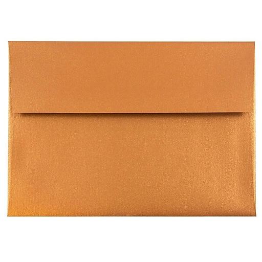 JAM Paper® A8 Metallic Invitation Envelopes, 5.5 x 8.125, Stardream Copper, 50/Pack (9844I)