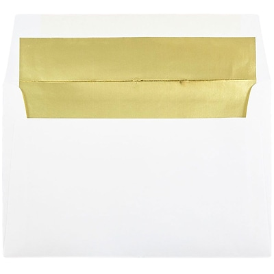 JAM Paper® A9 Foil Lined Envelopes, 5.75 x 8.75, White with Gold Lining, 250/box (11572H)