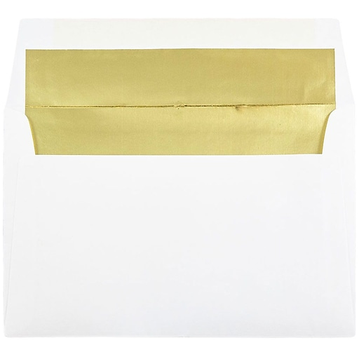 JAM Paper® A9 Foil Lined Invitation Envelopes, 5.75 x 8.75, White with Gold Foil, 50/Pack (11572I)