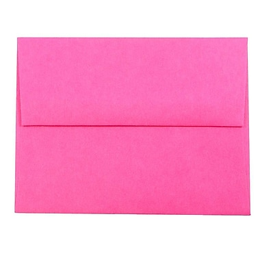 JAM Paper® A2 Invitation Envelopes, 4 3/8 x 5 3/4, Brite Hue Ultra Fuchsia Pink, 25/pack (12844)