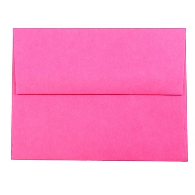 JAM Paper® A2 Invitation Envelopes, 4 3/8 x 5 3/4, Brite Hue Ultra Fuchsia Pink, 50/pack (12844I)