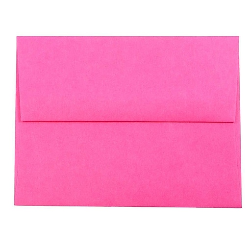 JAM Paper® A2 Colored Invitation Envelopes, 4.375 x 5.75, Ultra Fuchsia Pink, Bulk 250/Box (12844H)