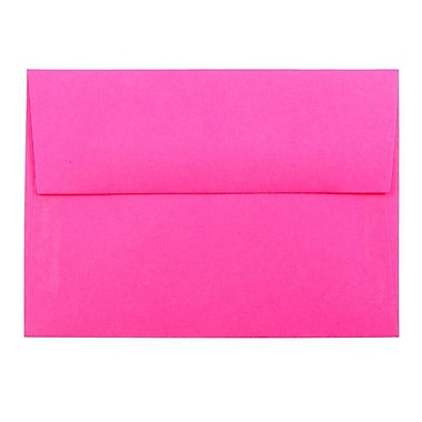 JAM Paper® 4bar A1 Envelopes, 3 5/8 x 5 1/8, Brite Hue Ultra Fuchsia Pink, 1000/carton (15790B)