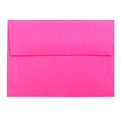 JAM Paper® 4bar A1 Envelopes, 3 5/8 x 5 1/8, Brite Hue Ultra Fuchsia Pink, 50/pack (15790I)