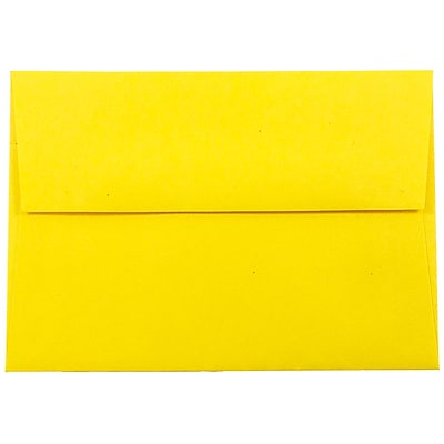 JAM Paper® 4bar A1 Envelopes, 3 5/8 x 5 1/8, Brite Hue Yellow Recycled, 250/box (15801H)