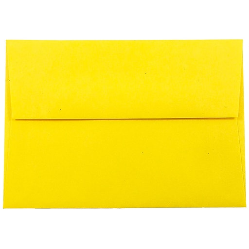 JAM Paper® 4Bar A1 Colored Invitation Envelopes, 3.625 x 5.125, Yellow Recycled, 50/Pack (15801I)
