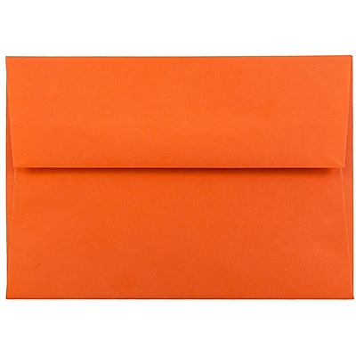 JAM Paper® 4bar A1 Envelopes, 3 5/8 x 5 1/8, Brite Hue Orange Recycled, 50/pack (15808I)