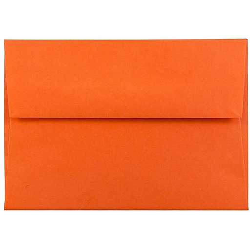 JAM Paper® 4Bar A1 Colored Invitation Envelopes, 3.625 x 5.125, Orange Recycled, Bulk 250/Box (15808H)