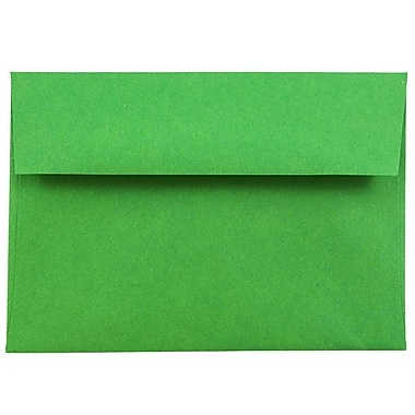 JAM Paper® 4bar A1 Envelopes, 3 5/8 x 5 1/8, Brite Hue Christmas Green Recycled, 1000/carton (15811B)
