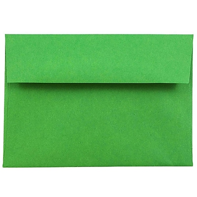 JAM Paper® 4bar A1 Envelopes, 3 5/8 x 5 1/8, Brite Hue Christmas Green Recycled, 250/box (15811H)